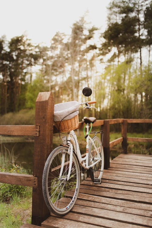 Bike on wooden porch in countryside in sunlight