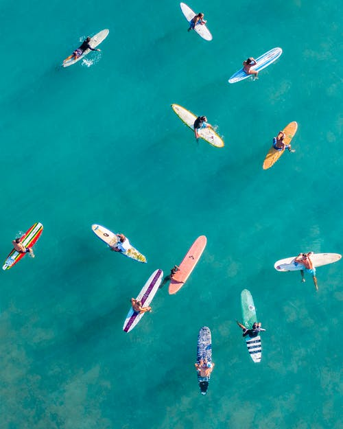 Aerial View of People Riding on Boat