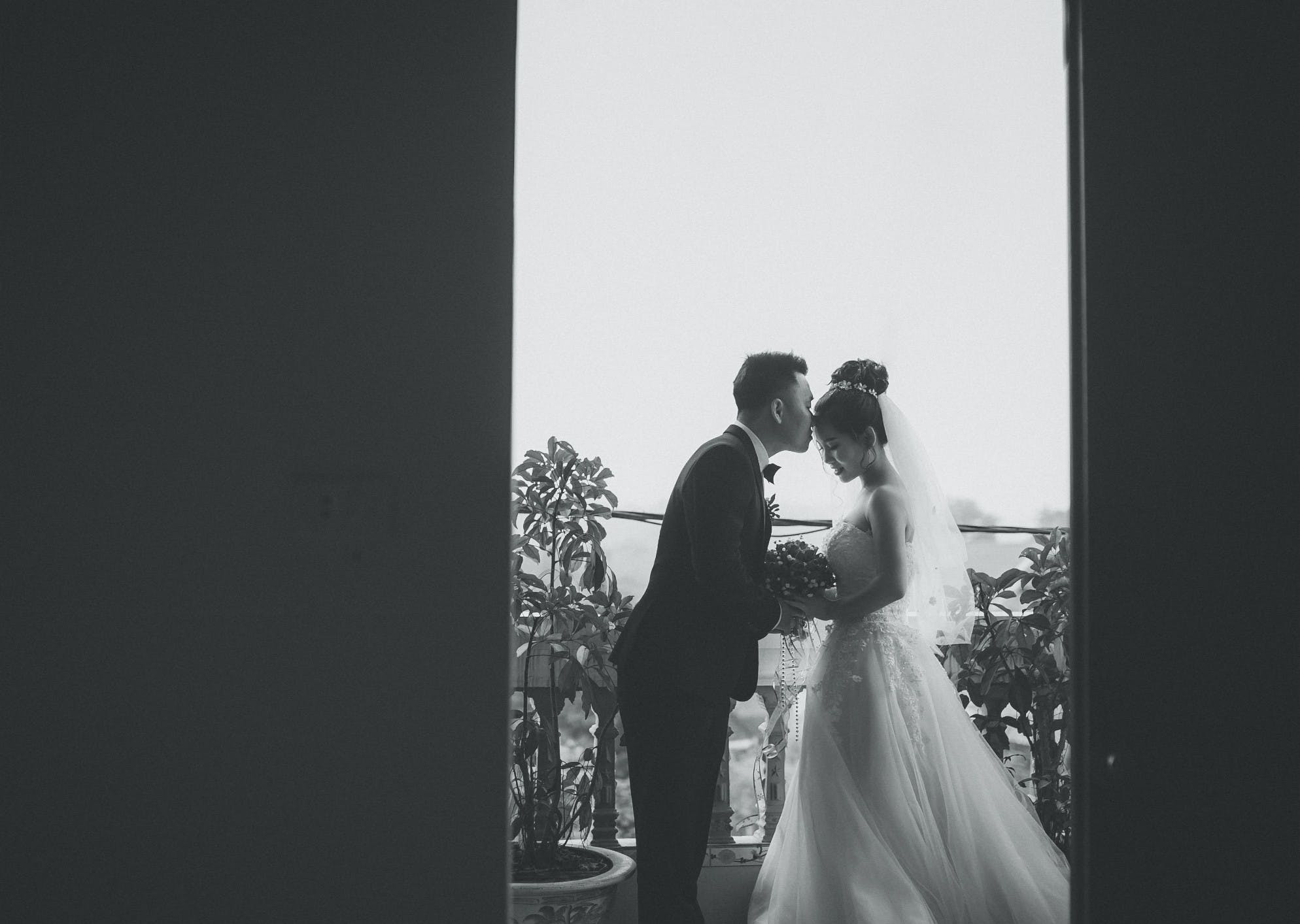 black, black and white, bride