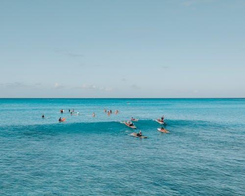 People Surfing on Sea