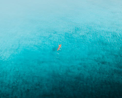 Person in Orange and White Wetsuit Surfing on Blue Sea Water