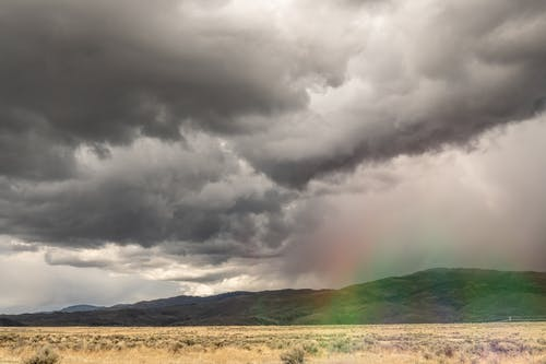 Dramatic cloudy sky over arid highlands