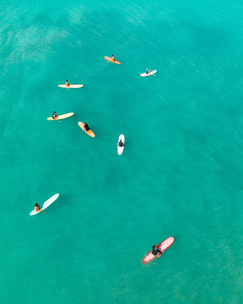 Aerial View of People Surfing on Sea