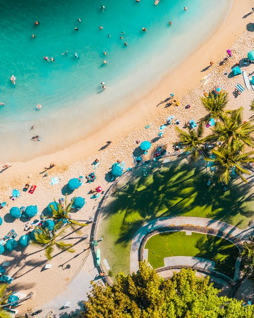 Free stock photo of beach bar, beach chairs, beach goers