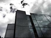 sky, clouds, building