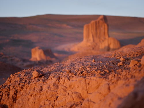 Breathtaking dry desert landscape with sandstone rocks