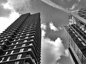black-and-white, city, sky