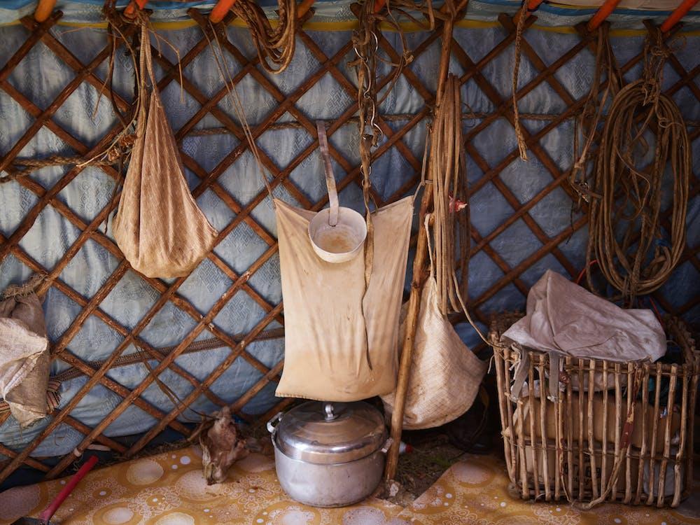 Interior of traditional Mongolian yurt