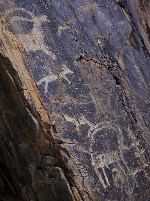 From above of shabby ancient drawings of animals on cracked surface of stone cave