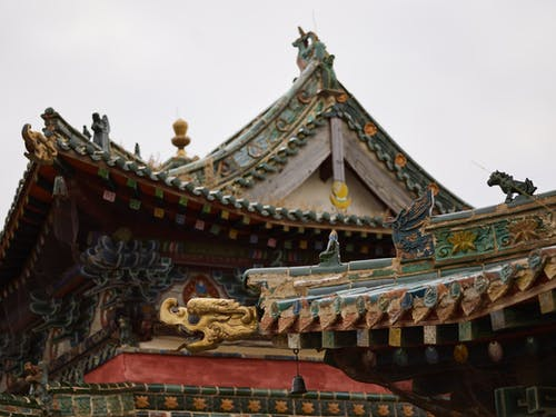 Craved elements of roof of oriental temple