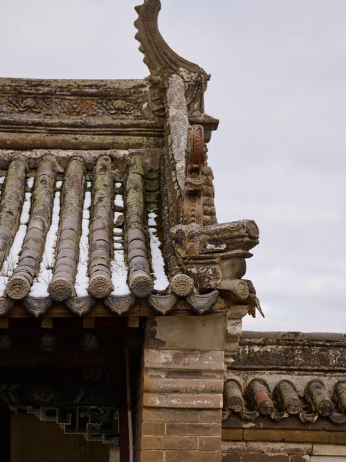 Ornamental roof of old oriental temple