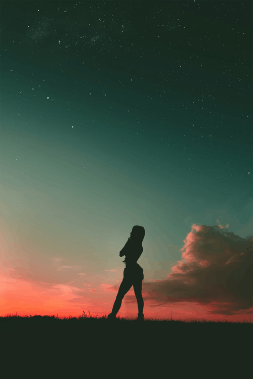 Silhouette of Woman Under Blue Sky