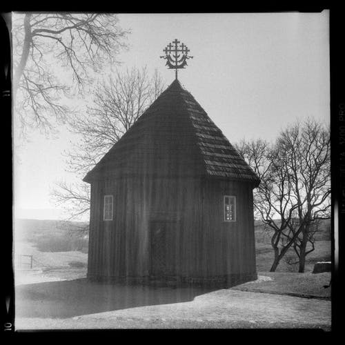 Grayscale Photo of Wooden House Near Bare Trees