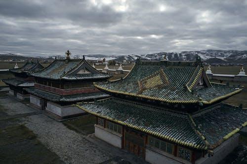 Buildings of Erdene Zuu Monastery on gloomy day