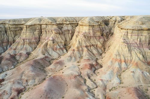 Drone view of magnificent rocky terrain in Mongolia
