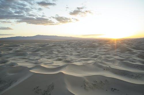 Picturesque dunes in desert at sundown