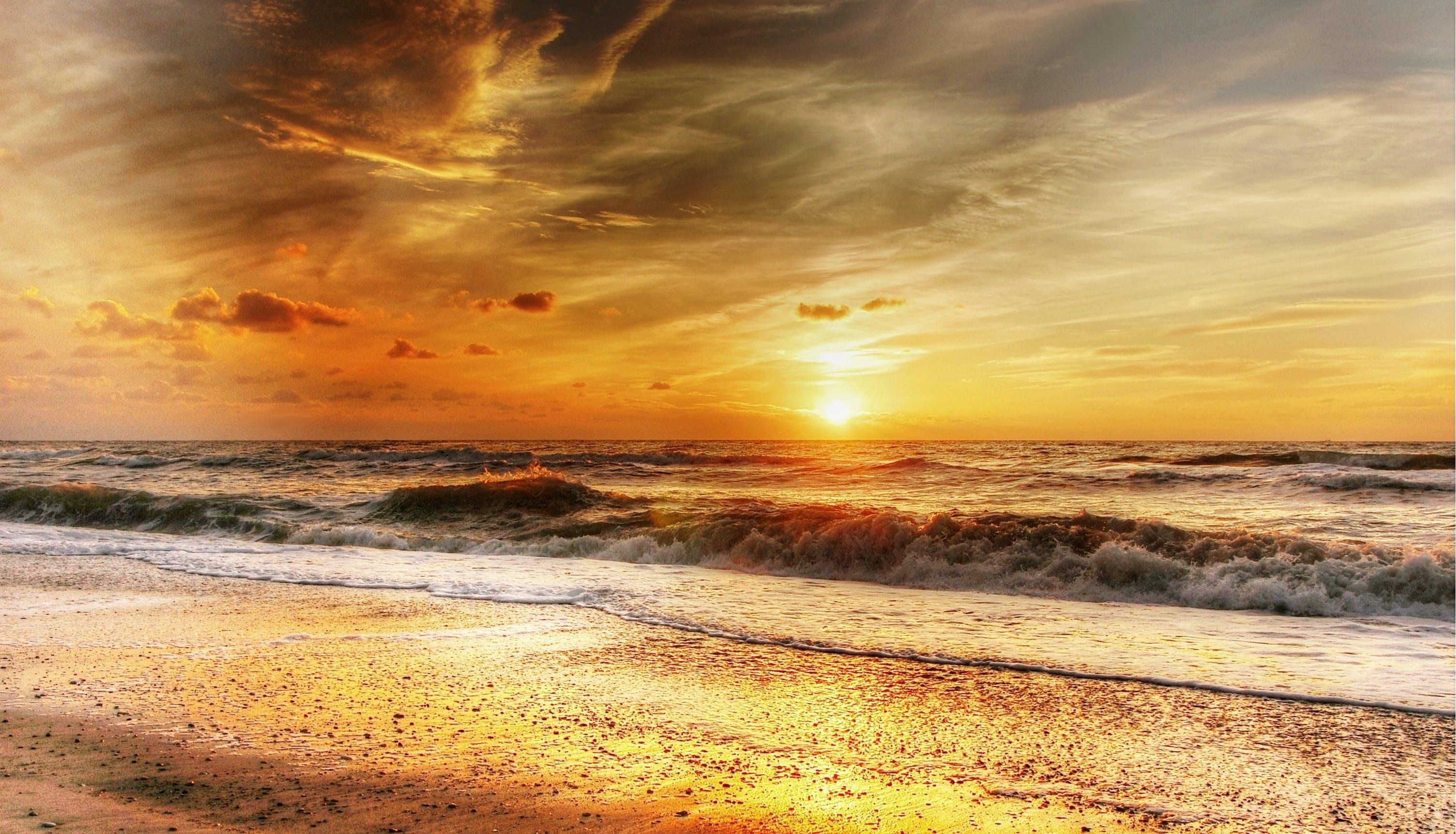 abendstimmung, afterglow, beach