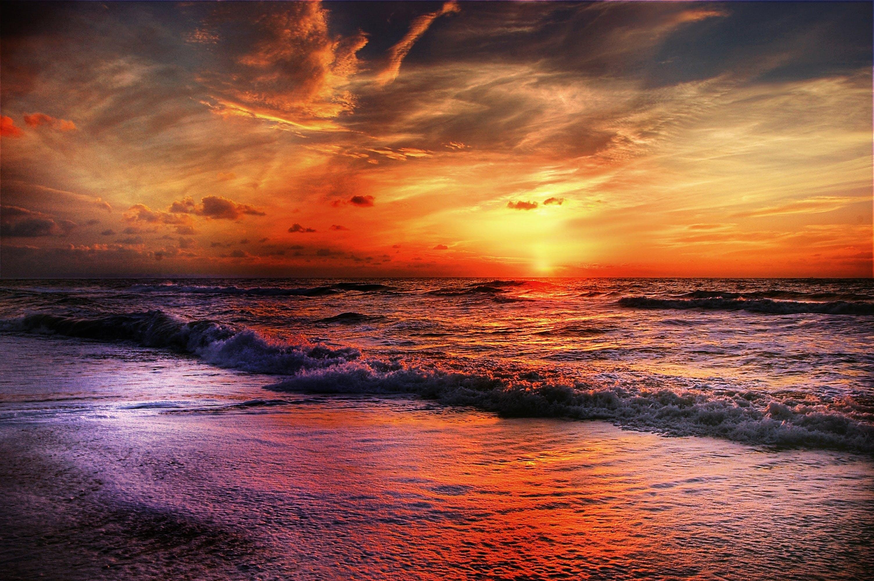 Seashore Under Orange Cloudy Sky