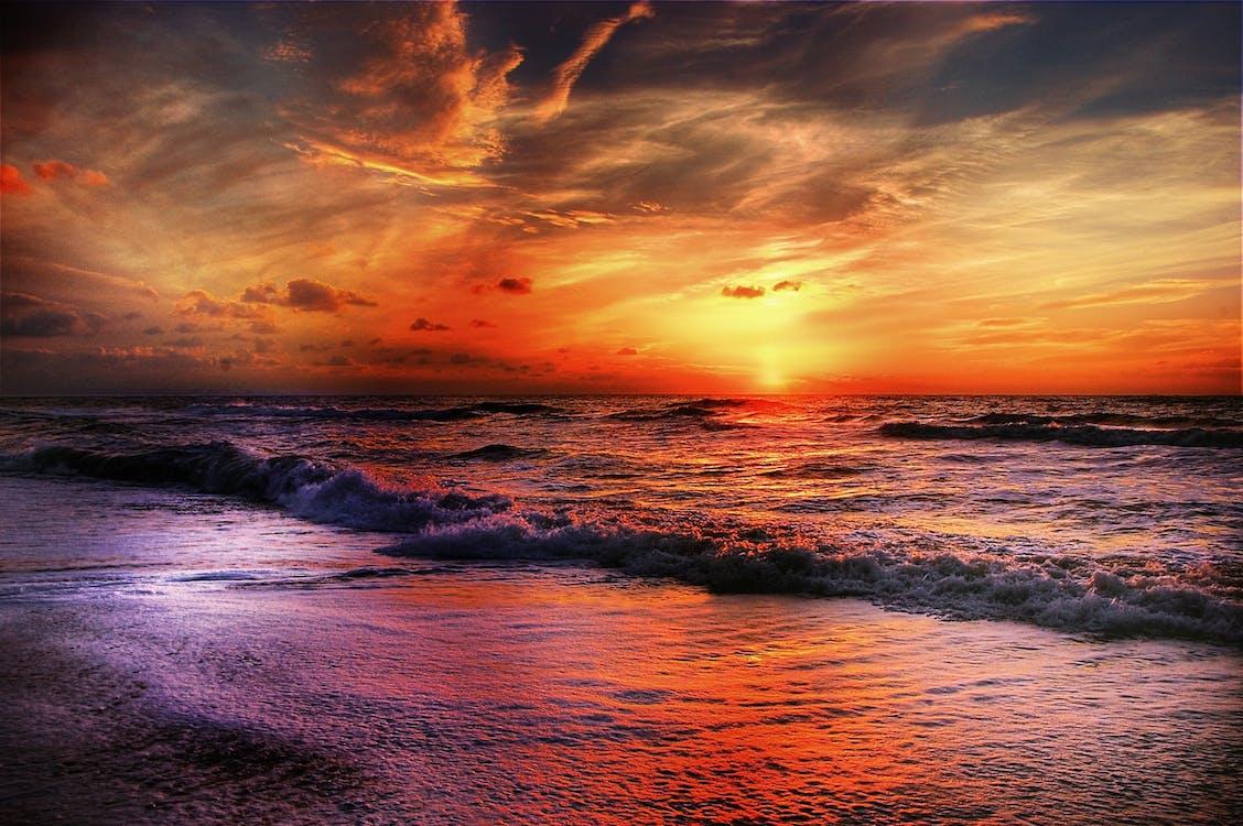 bølger, dramatisk, fredelig