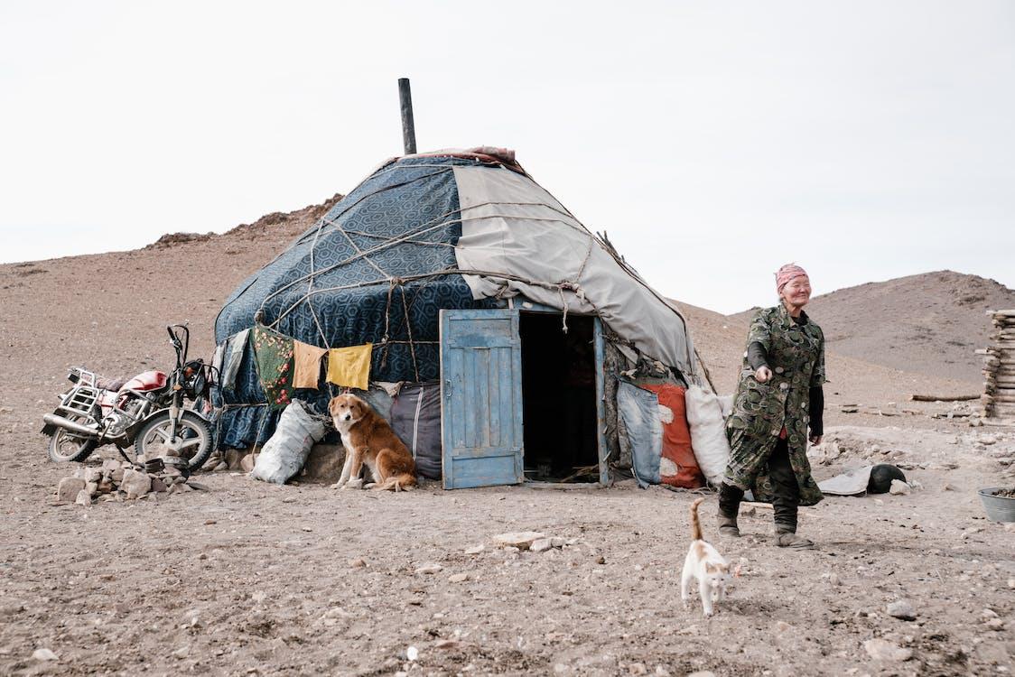 Senior Mongolian woman pointing at cat walking near home ger