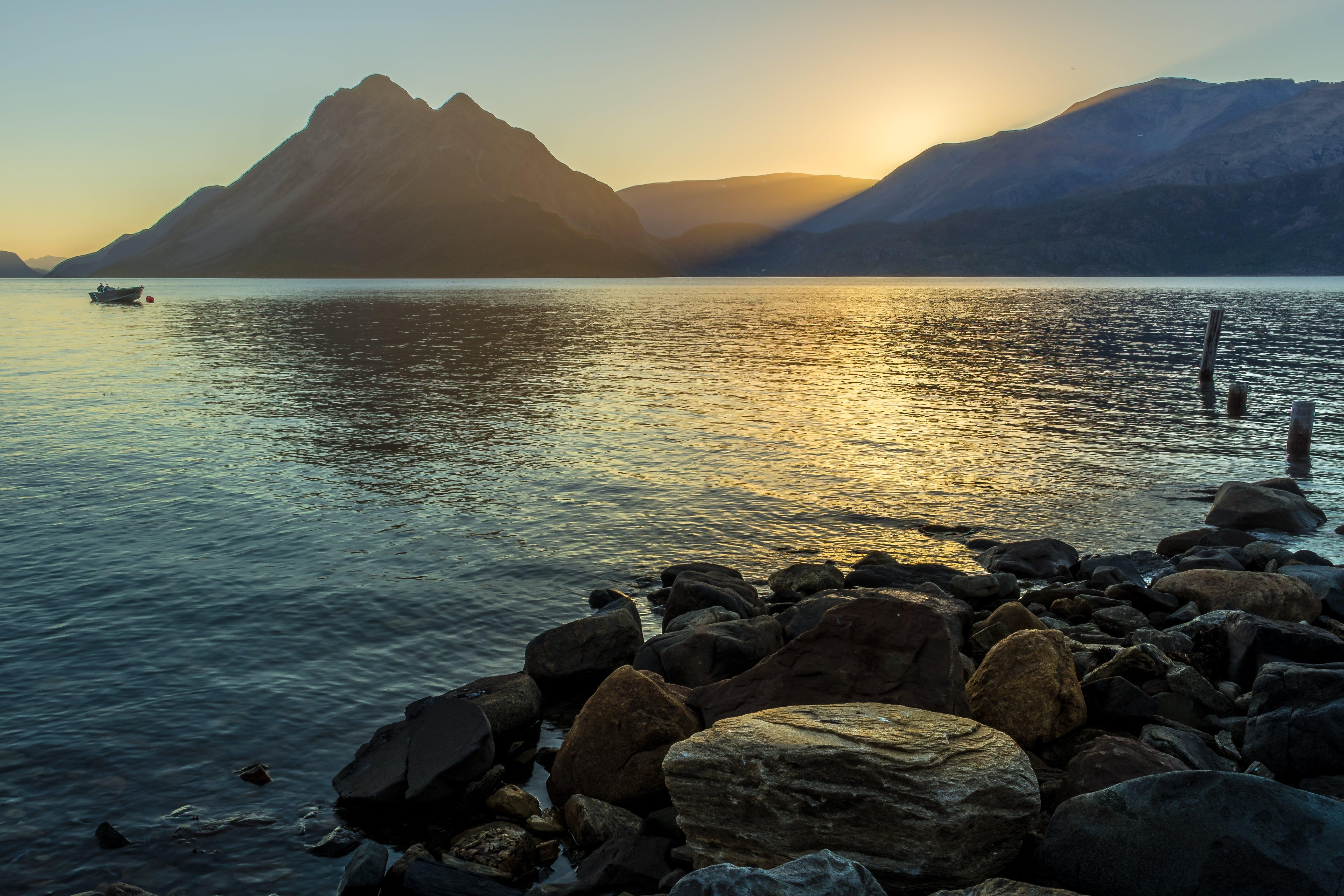 Free stock photo of coast, fjord, landscape, midnight sun