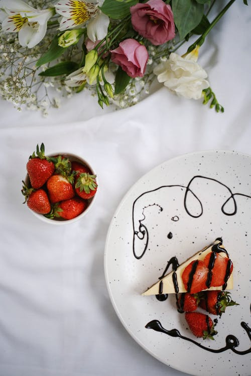 Strawberry Cake on White Ceramic Plate