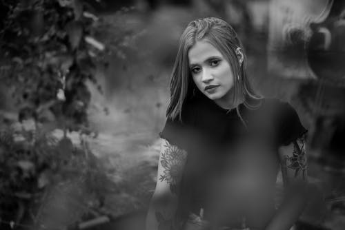 Woman in Black Tank Top in Grayscale Photography