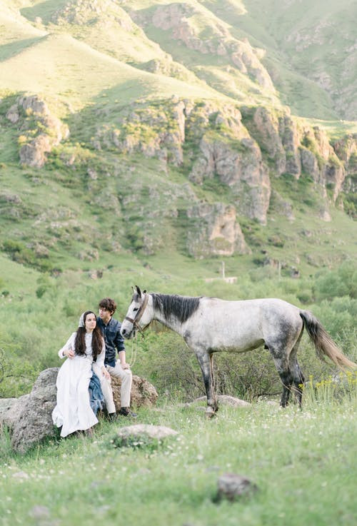 Young couple with horse sitting on stone on grassy meadow