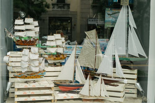 Beautiful handcrafted ship souvenirs in shop