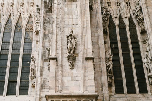 Elements on facade of ancient cathedral