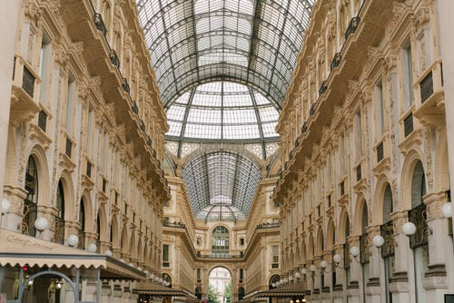 Arched shopping passage located in Milan