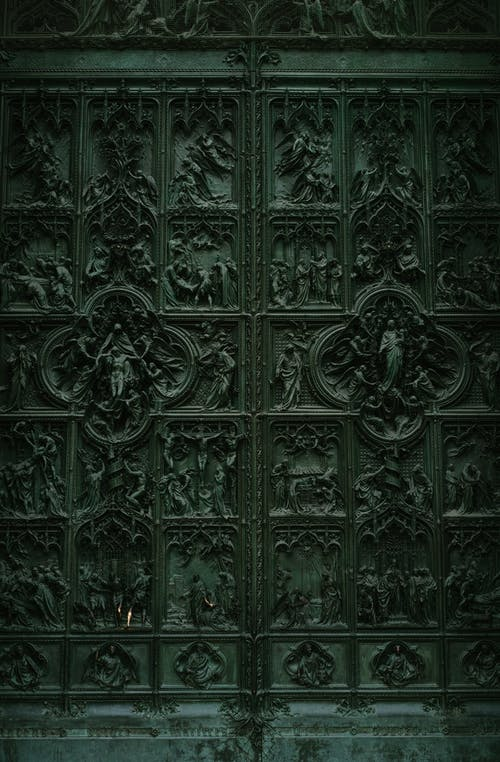 Splendid bronze door of Milan Cathedral