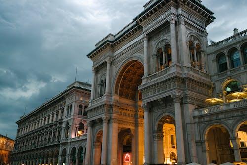 Galleria Vittorio Emanuele II in Milan on cloudy evening
