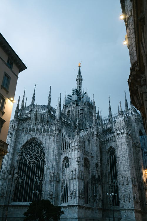 Milan Cathedral of St Mary on cloudy evening