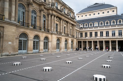 Palais Royal courtyard in Paris on fine day