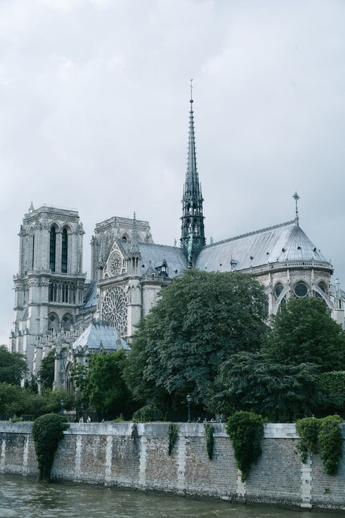 Notre Dame de Paris in greenery on cloudy day