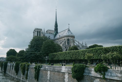 Rear of Notre Dame Cathedral on gray day