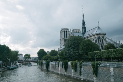 Rear view of Notre Dame on river Seine