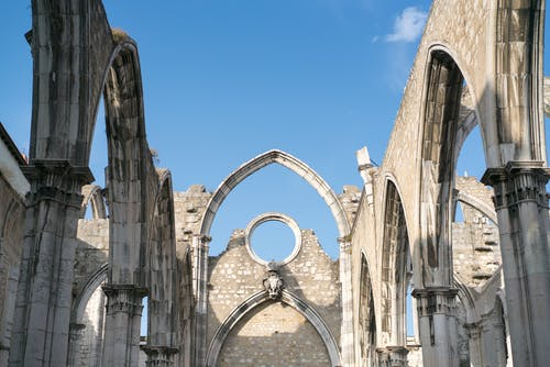 Old stone elements of ruined nave of Carmo Convent