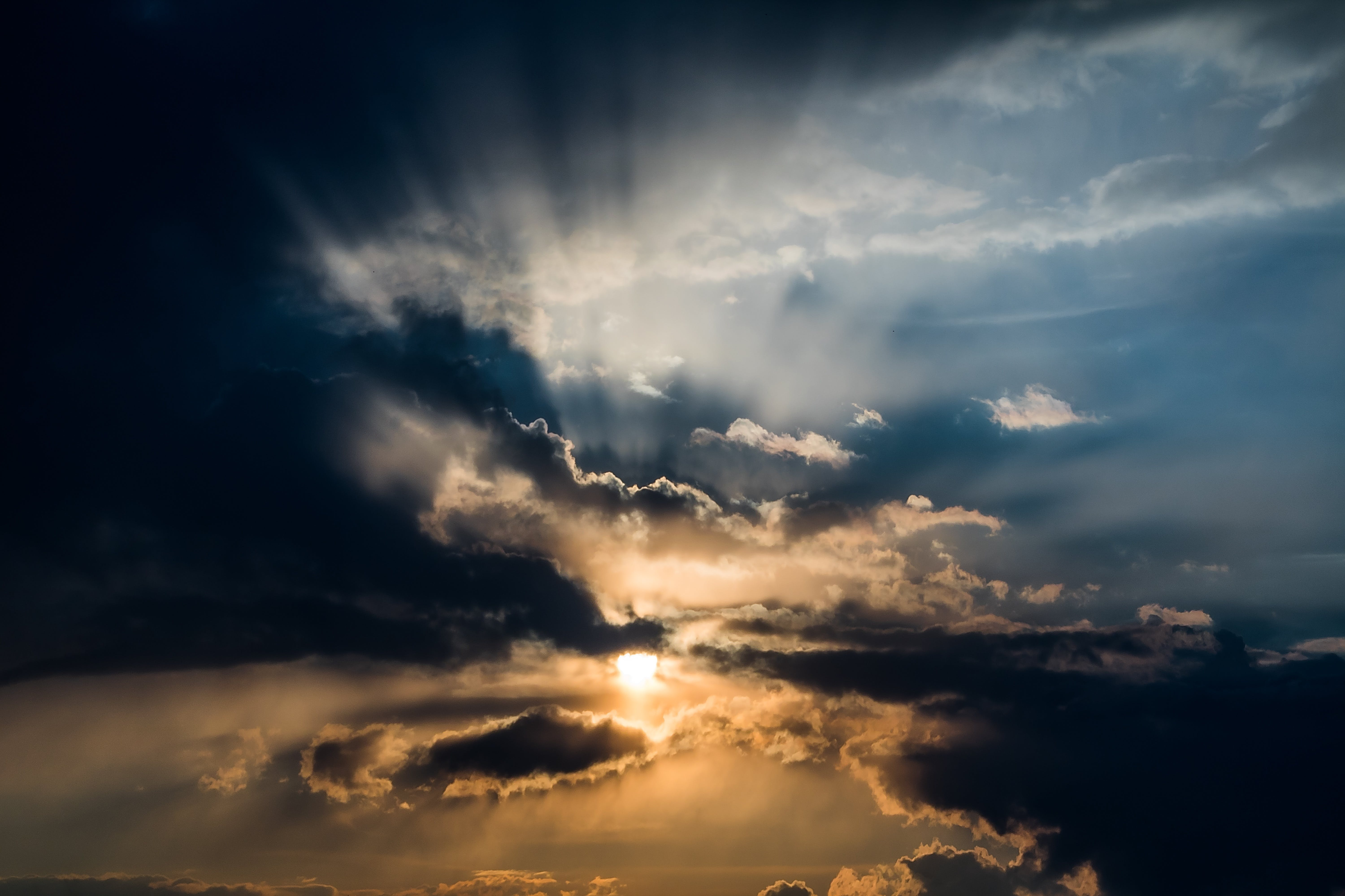 afterglow, cloudiness, clouds
