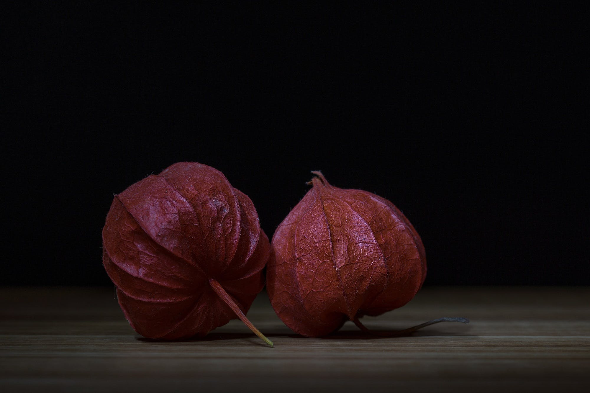 Two Red Physalis on Brown Surface