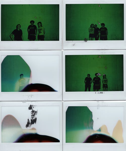 Series of instant photos of anonymous people against white background