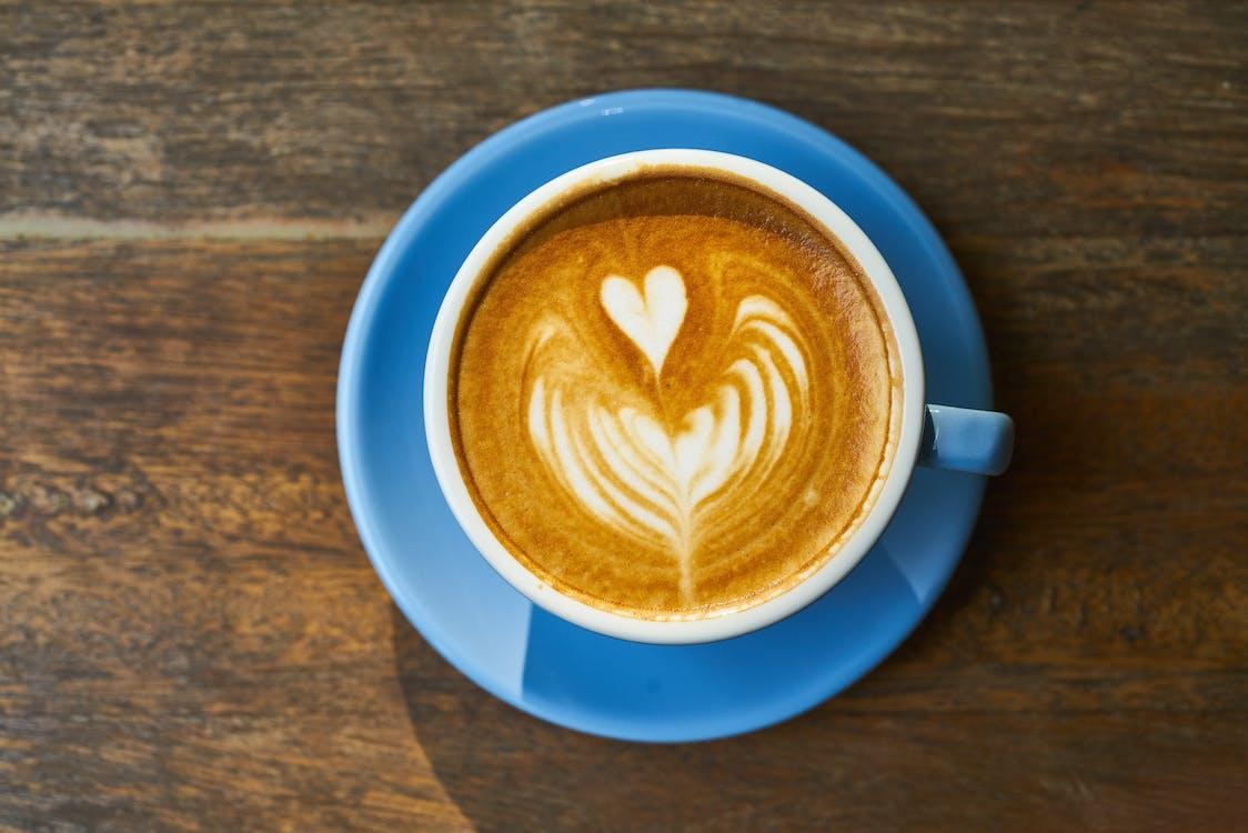 Cappuccino on Blue Ceramic Saucer