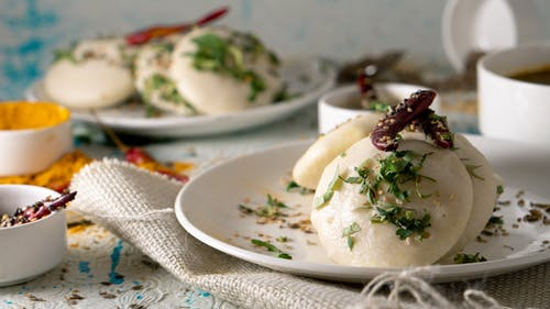 Delicious dumplings with with herbs and veggies