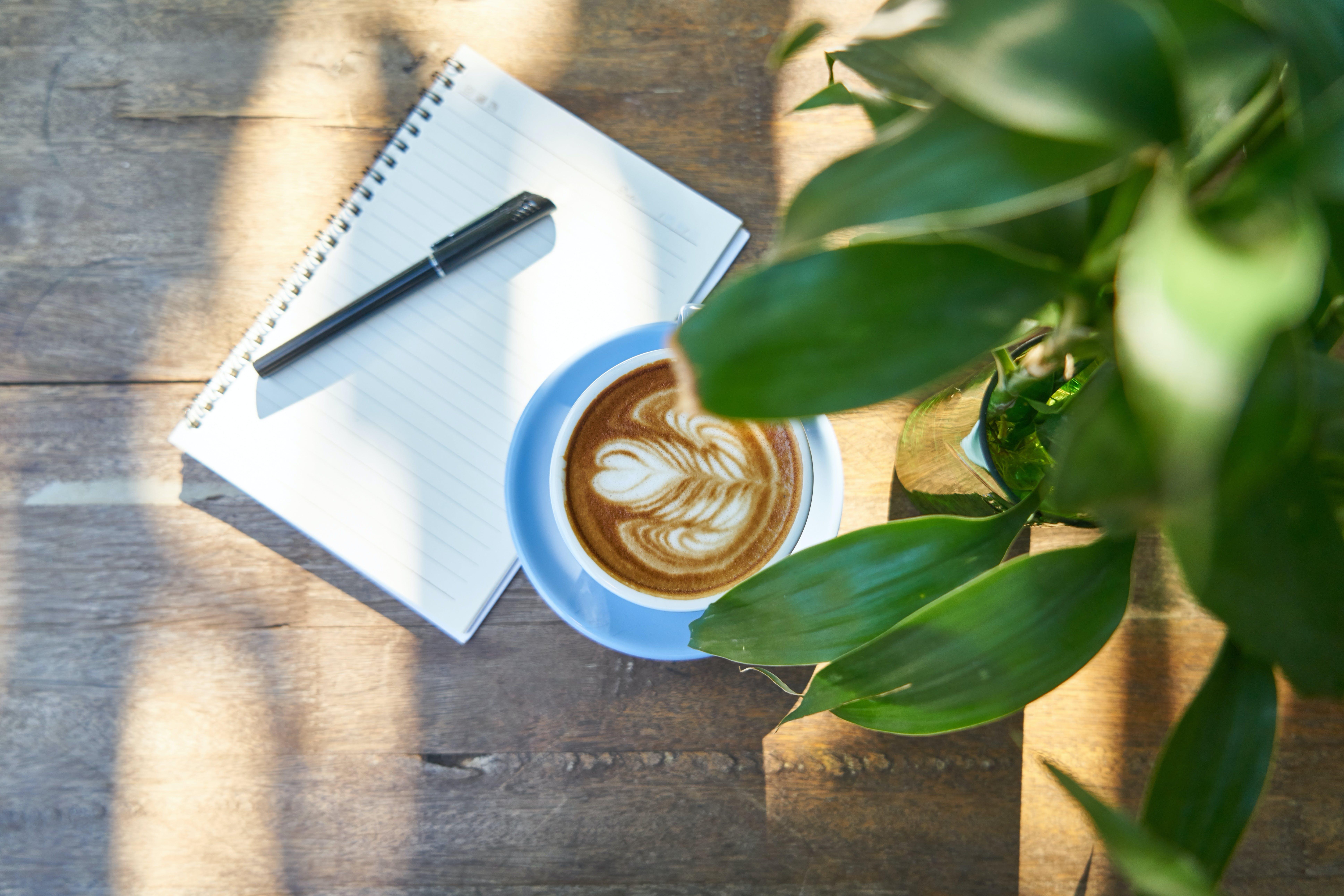 bebida, caderno, café