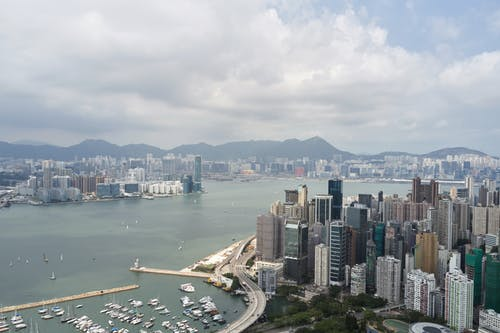 Picturesque cityscape of Hong Kong harbor