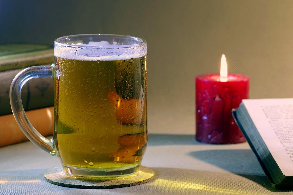 Beer-filled Glass Mug