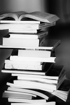 Free stock photo of black-and-white, books, research, reading