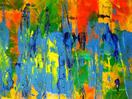 Yellow Blue and Red Abstract Painting
