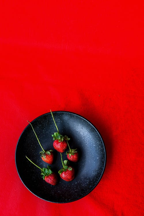 Top View of Strawberries in Bowl